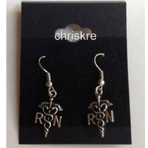 Jewelry - Silver RN Nursing Caduceus Earrings Nurse Gift